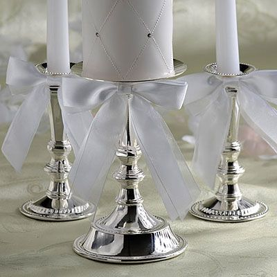 Silver Wedding Unity Candle Holder Set 3ct