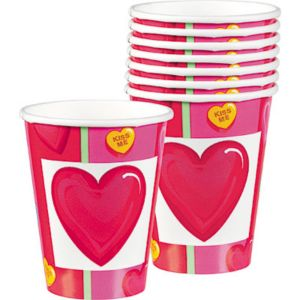Candy Hearts Valentine's Day Cups 8ct
