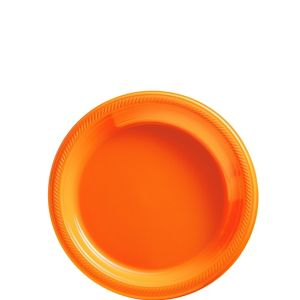 Orange Plastic Dessert Plates 20ct