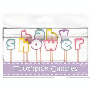 Multicolor Pastel Baby Shower Toothpick Candles 10ct