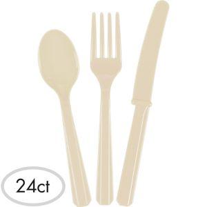 Vanilla Cream Plastic Cutlery Set 24ct