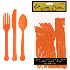 Orange Premium Plastic Cutlery Set 24ct