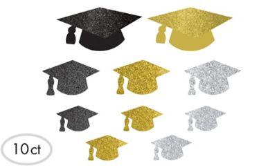 Glitter Cap Graduation Cutouts 10ct