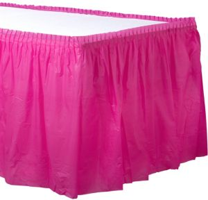 Bright Pink Plastic Table Skirt