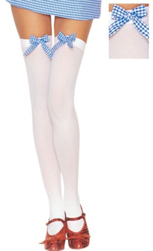 Adult White Thigh High Stockings with Gingham Bow