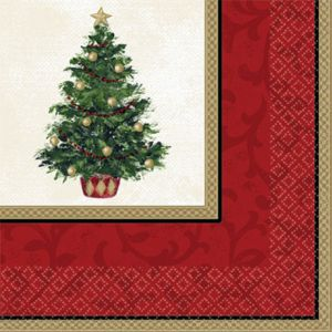 Classic Christmas Tree Beverage Napkins 16ct