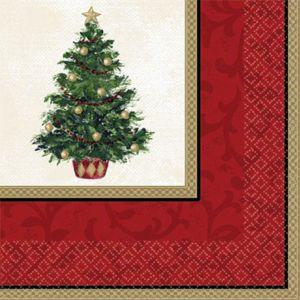 Classic Christmas Tree Beverage Napkins 16ct