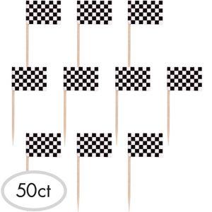 Black & White Checkered Flag Picks 50ct