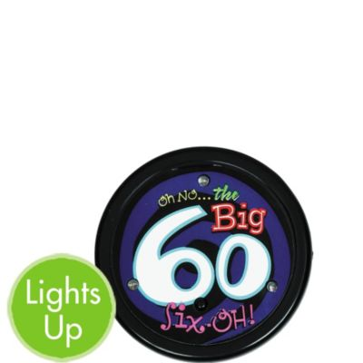 Light-Up Oh No 60th Birthday Button