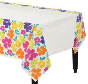 Hibiscus White Plastic Table Cover