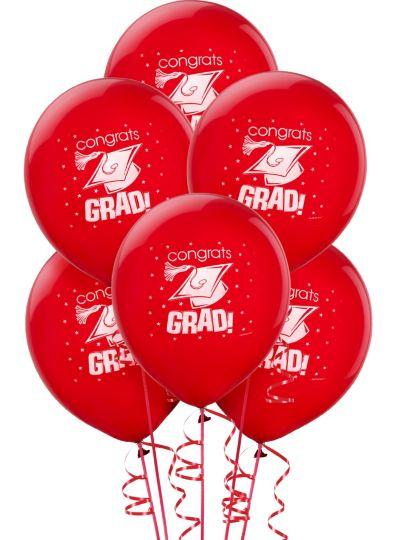 Red Graduation Balloons 15ct