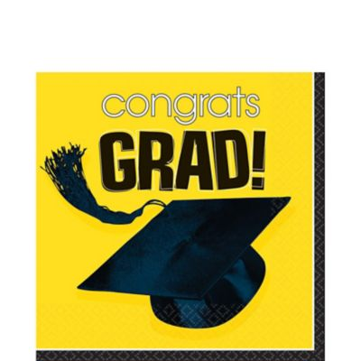 Congrats Grad Yellow Graduation Lunch Napkins 36ct