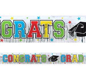 Foil Multicolor Graduation Fringed Banner