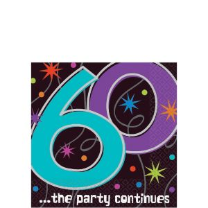 The Party Continues 60th Birthday Beverage Napkins 16ct