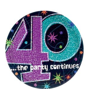 The Party Continues 40th Birthday Dessert Plates 8ct