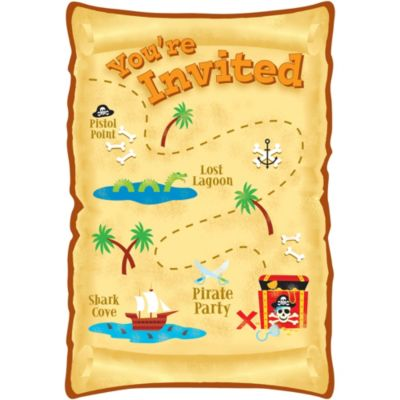 Pirate's Treasure Invitations 8ct