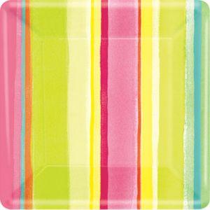 Pink Sunny Stripe Dessert Plates 8ct