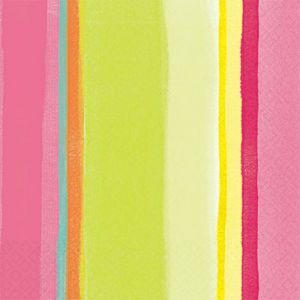 Pink Sunny Stripe Lunch Napkins 16ct