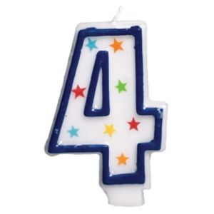 Glitter Blue Outline Number 4 Birthday Candle