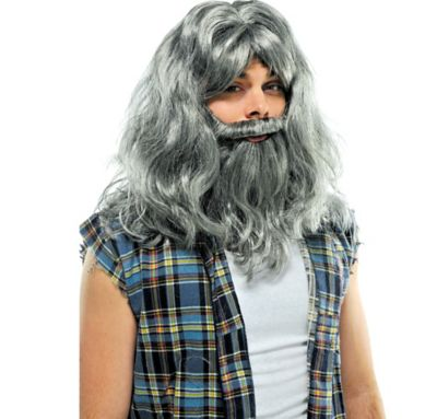 Silver Old Man Wig & Beard Deluxe Set