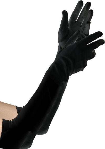 Extra Long Black Velvet Gloves