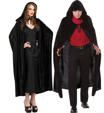 Adult Crushed Velvet Hooded Cloak Deluxe