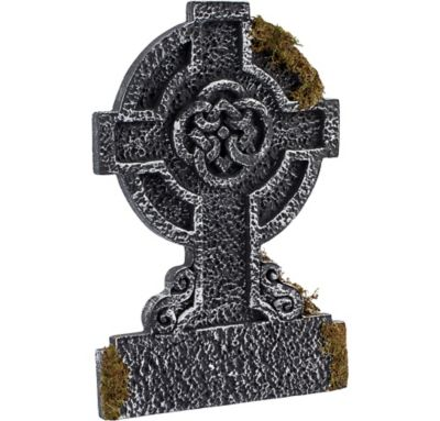 Mossy Celtic Cross Tombstone Decoration