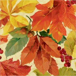 Elegant Leaves Beverage Napkins 16ct