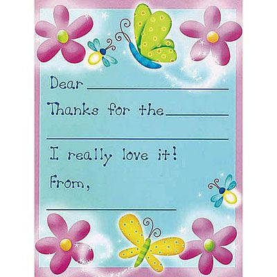 Dazzling Butterflies Thank You Notes 8ct