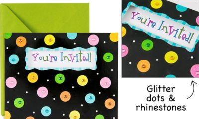 Glitter Dots Invitations 8ct