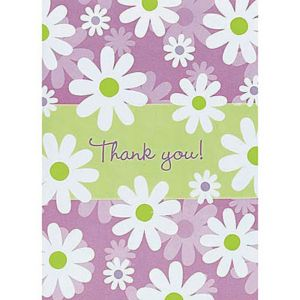 Daisy Stripe Thank You Notes 8ct