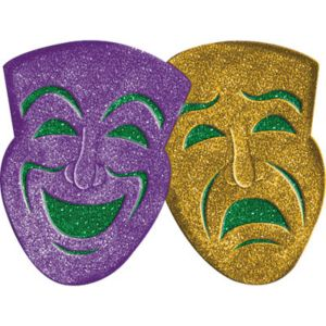 3D Glitter Comedy & Tragedy Mask Decoration