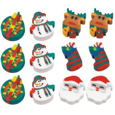 Holiday Fun Erasers 12ct