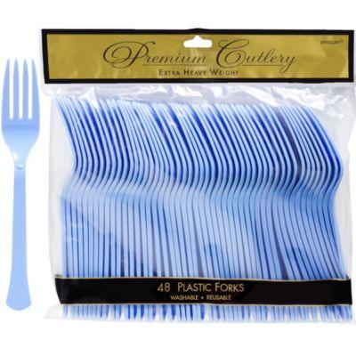 Pastel Blue Premium Plastic Forks 48ct