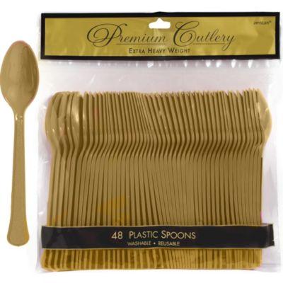 Gold Premium Plastic Spoons 48ct