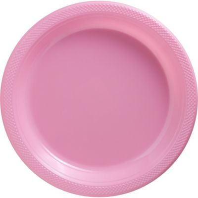 Pink Plastic Dinner Plates 20ct