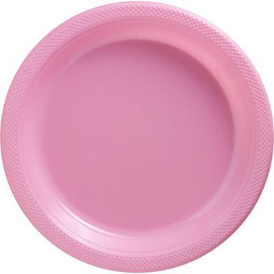 Pink Plastic Dinner Plates 20ct