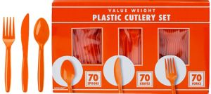 Big Party Pack Orange Plastic Cutlery Set 210ct