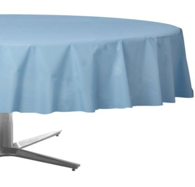 Pastel Blue Plastic Round Table Cover