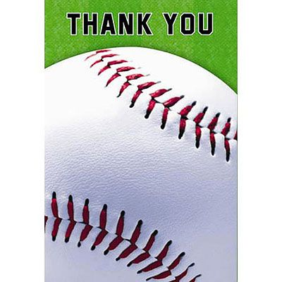 Baseball Fan Thank You Cards 8ct