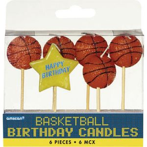 Basketball Birthday Toothpick Candles 6ct