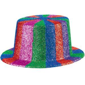 Glitter Rainbow Plastic Top Hat