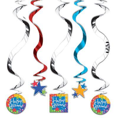 Happy Retirement Swirl Decorations 5ct