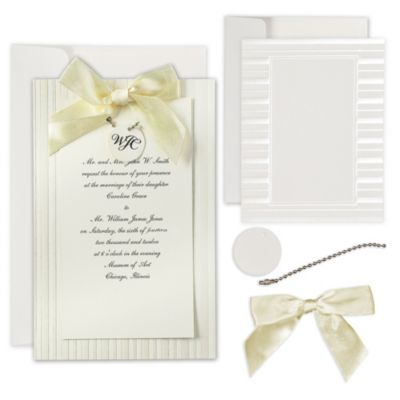 Ivory Simple Yet Elegant Printable Wedding Invitations Kit 25ct
