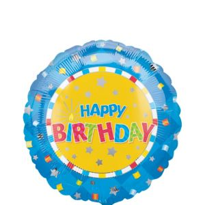 Blue & Yellow Confetti Birthday Balloon