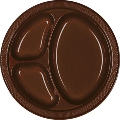 Chocolate Brown Plastic Divided Dinner Plates 20ct