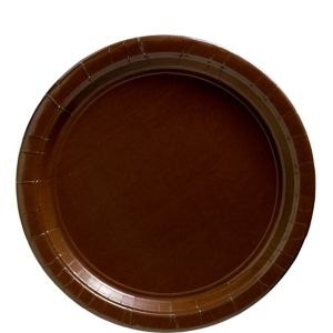 Chocolate Brown Paper Lunch Plates 20ct