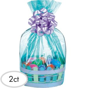 Caribbean Blue Plastic Gift Basket Bags 2ct