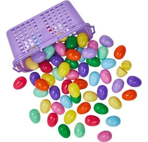 Fillable Easter Eggs in Basket 60ct