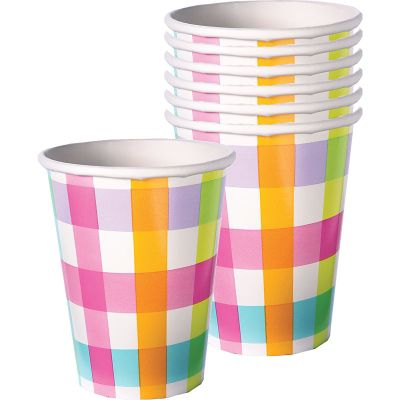 Colorful Gingham Cups 8ct